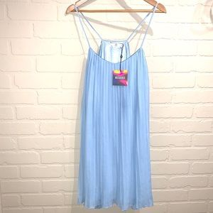 Missguided blue dress strappy pleated swing 8 NEW